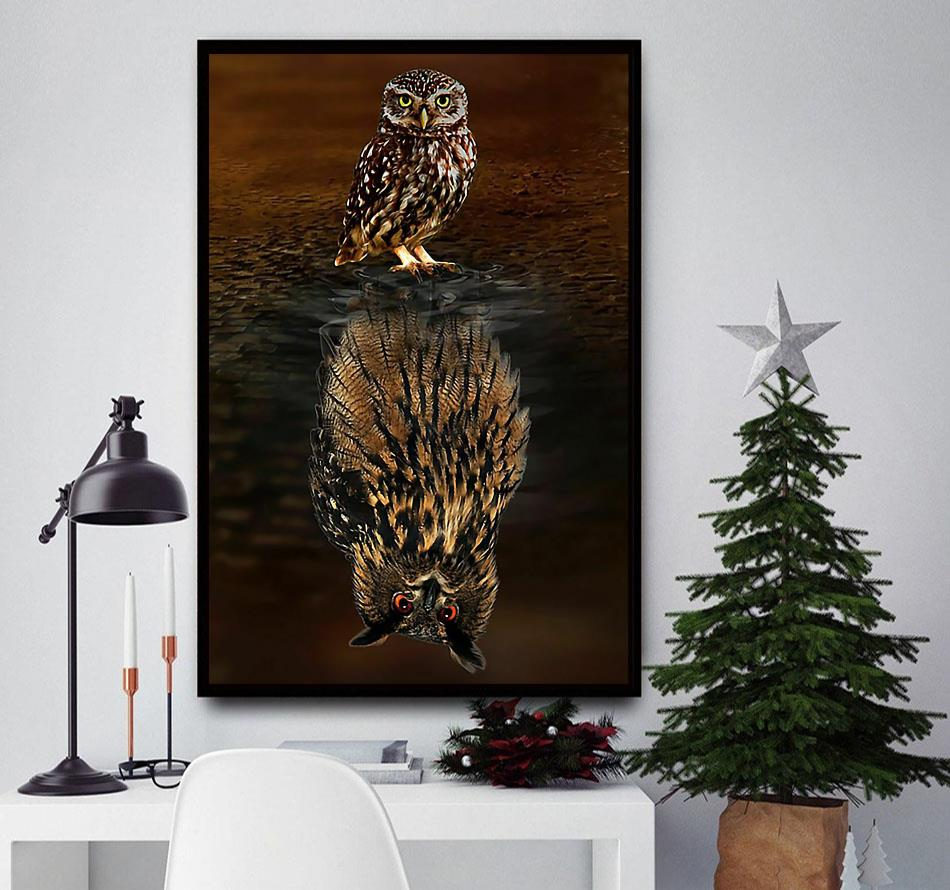 Owl water reflection believe in yourself poster