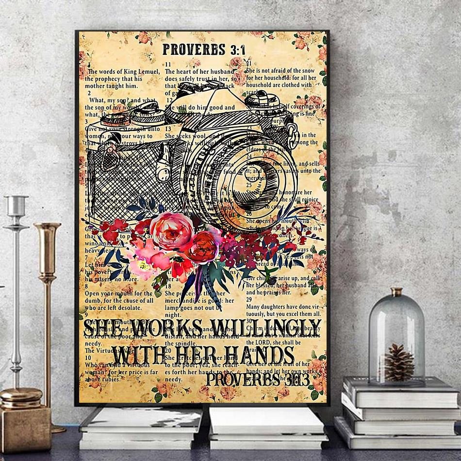 Photographer she works willingly with her hands poster canvas art