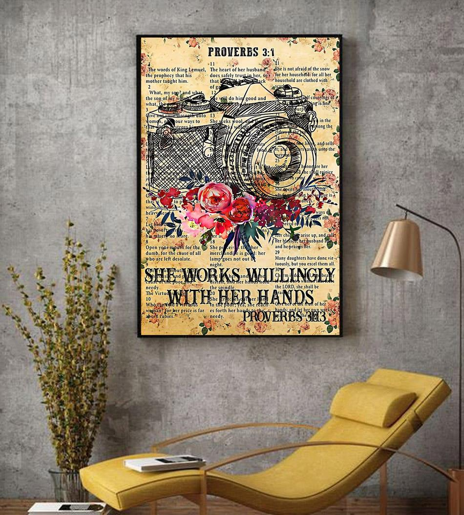 Photographer she works willingly with her hands poster canvas decor