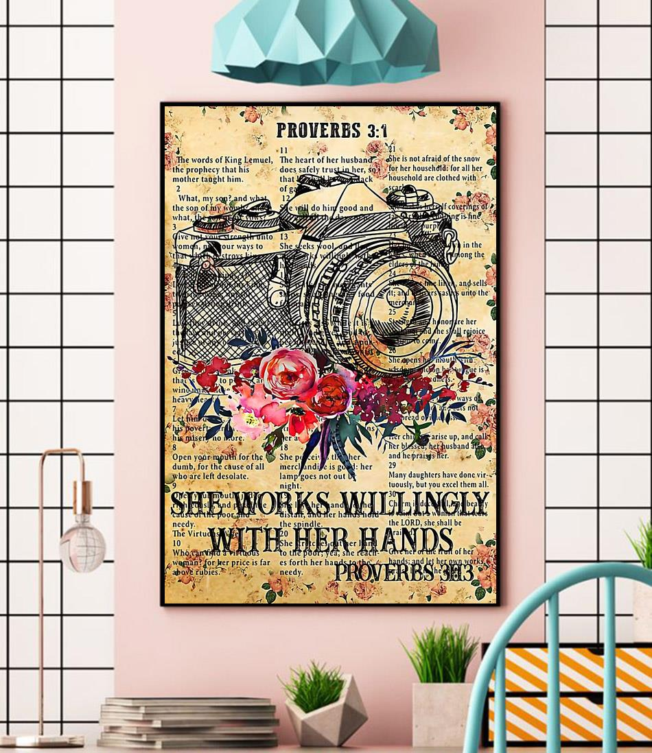 Photographer she works willingly with her hands poster canvas wall