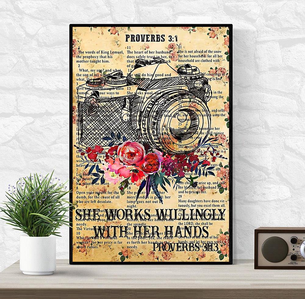 Photographer she works willingly with her hands poster canvas wrapped