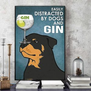 Rottweiler easily distracted by dogs and gin vintage canvas art