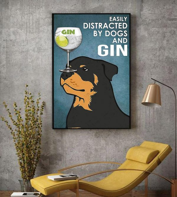 Rottweiler easily distracted by dogs and gin vintage canvas decor