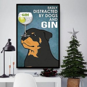 Rottweiler easily distracted by dogs and gin vintage canvas