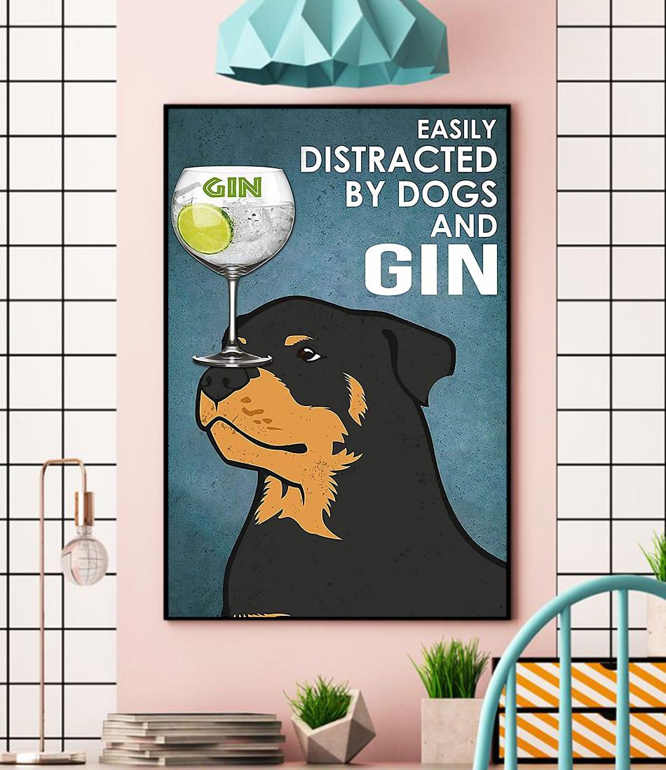 Rottweiler easily distracted by dogs and gin vintage canvas wall