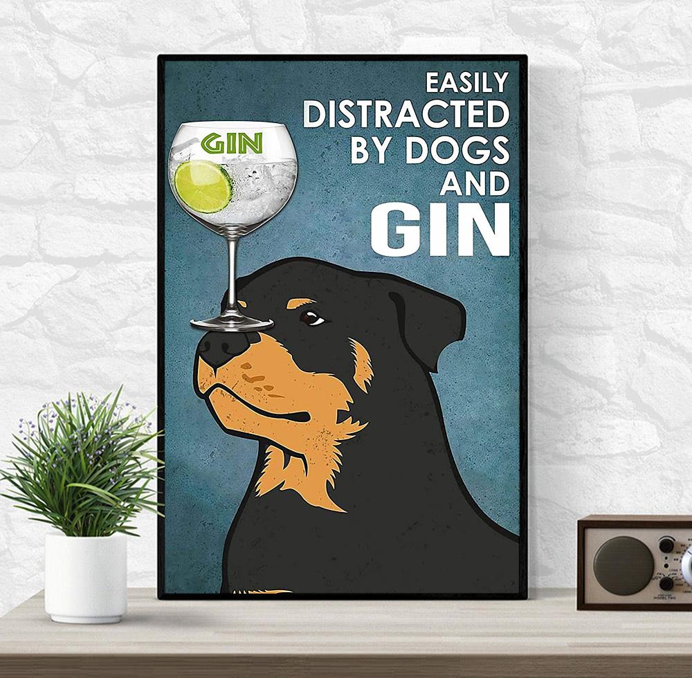 Rottweiler easily distracted by dogs and gin vintage canvas wrapped
