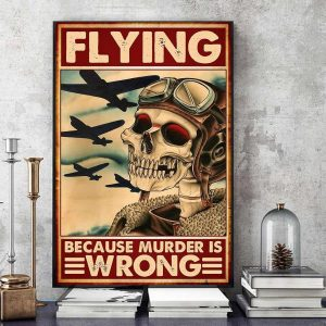 Skeleton pilot flying because murder is wrong canvas art