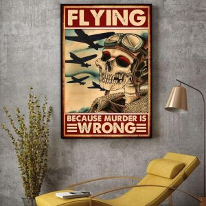 Skeleton pilot flying because murder is wrong canvas decor