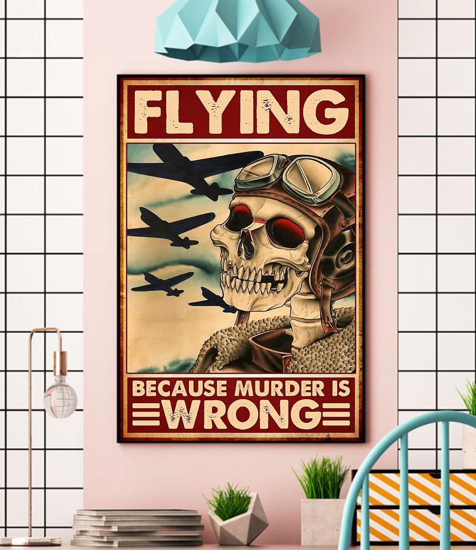 Skeleton pilot flying because murder is wrong canvas wall