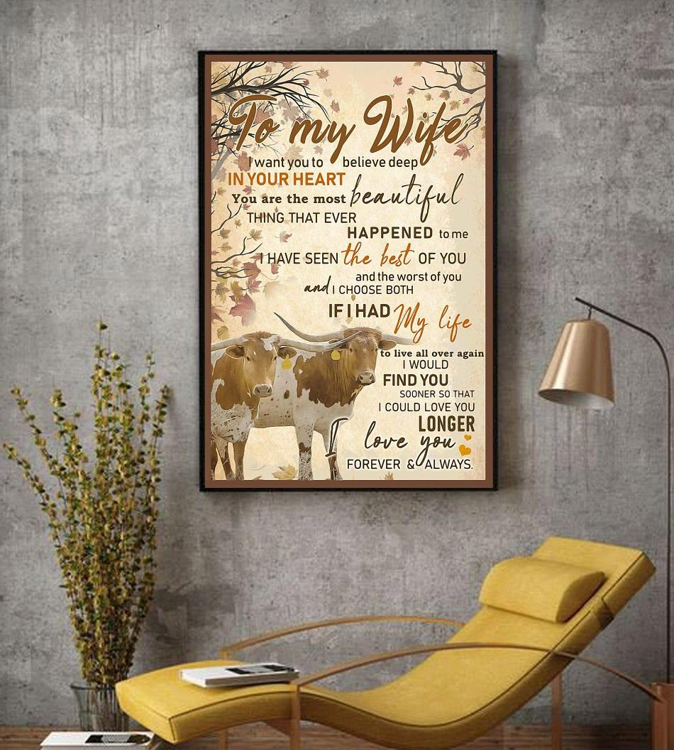 Texas Longhorn Couple to my wife poster decor