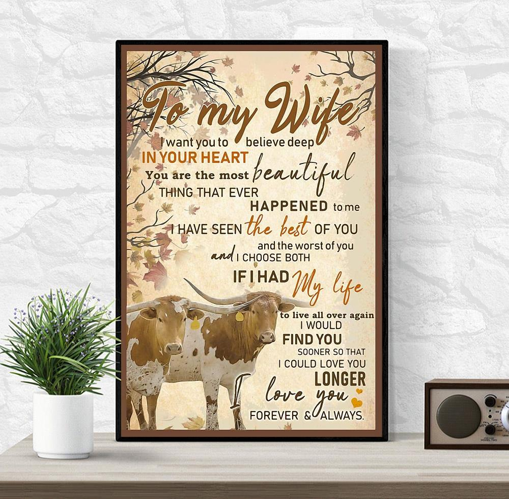 Texas Longhorn Couple to my wife poster wrapped