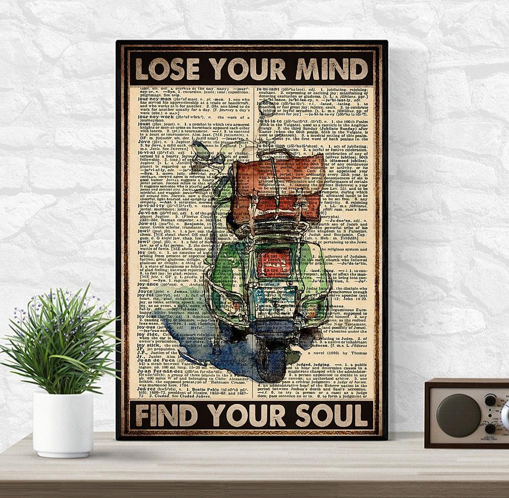 Travelling Scooter lose your mind find your soul poster wrapped