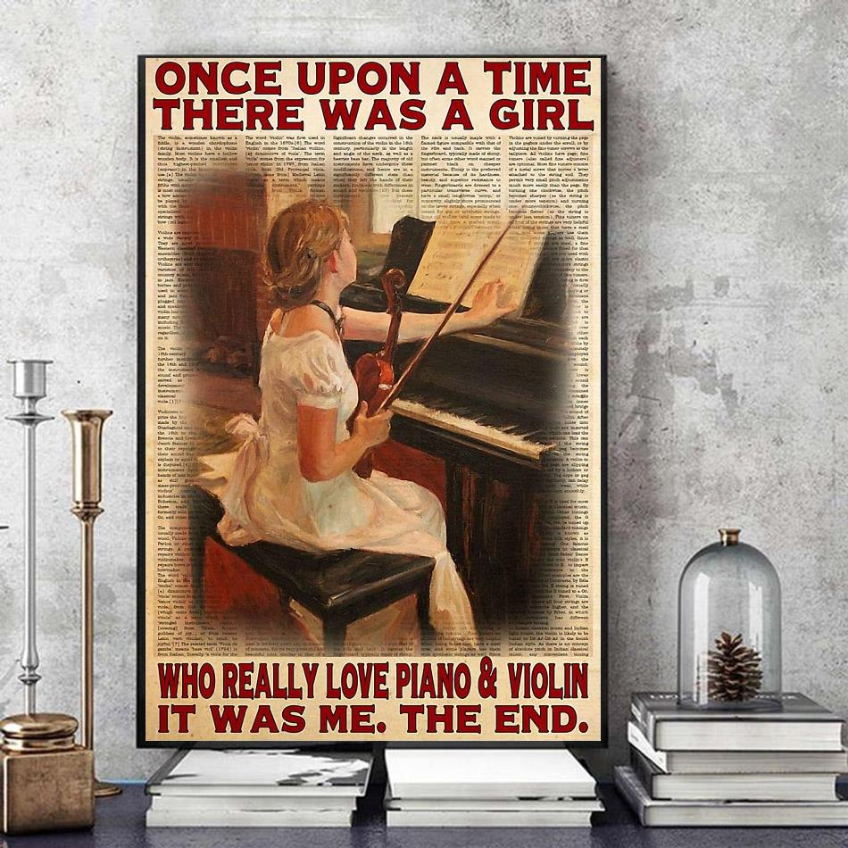 Upon a time a girl who really love piano and violin poster art