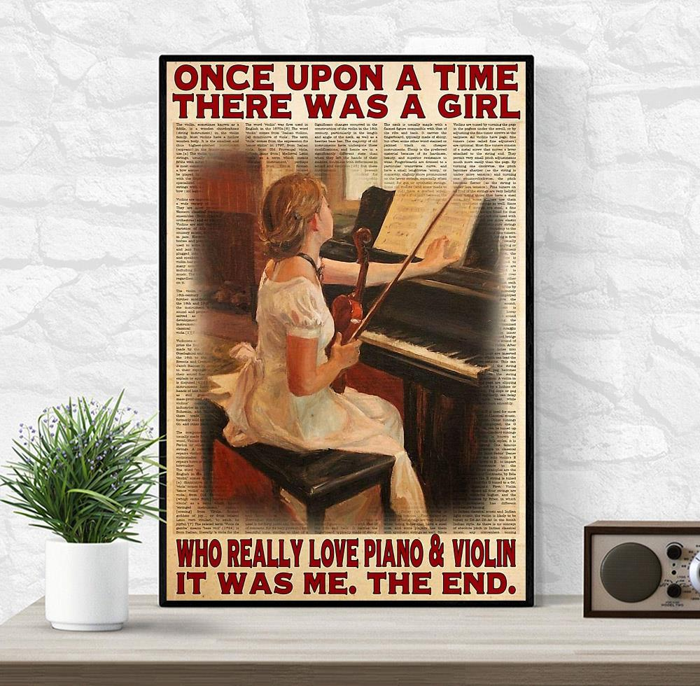 Upon a time a girl who really love piano and violin poster wrapped