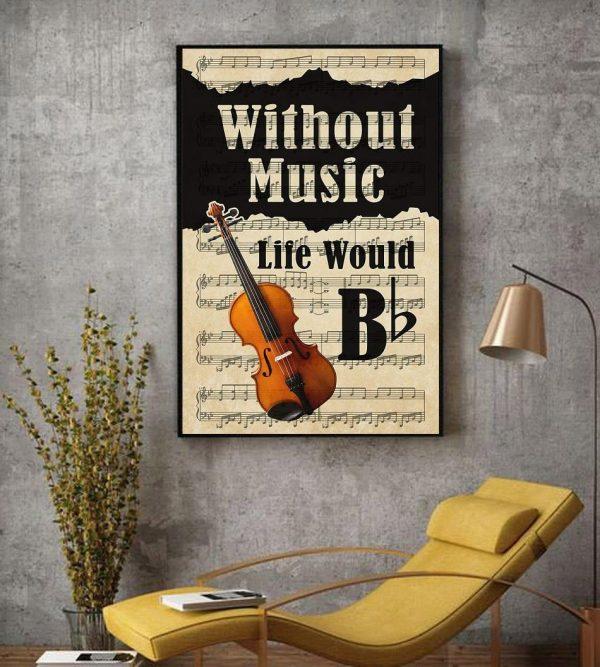 Violin without music life would be lyrics wall art decor