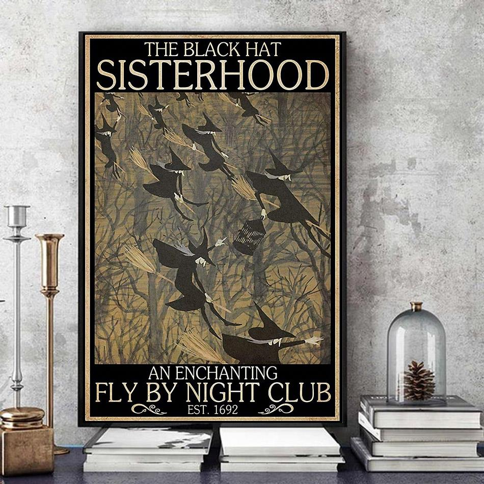 Witches the black hat sisterhood fly by night club poster art