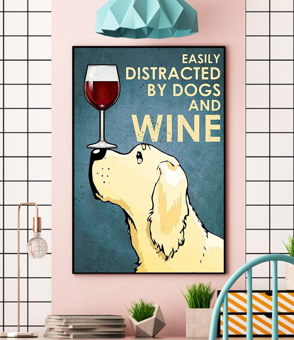 Yellow Labrador easily distracted by dogs wine canvas wall