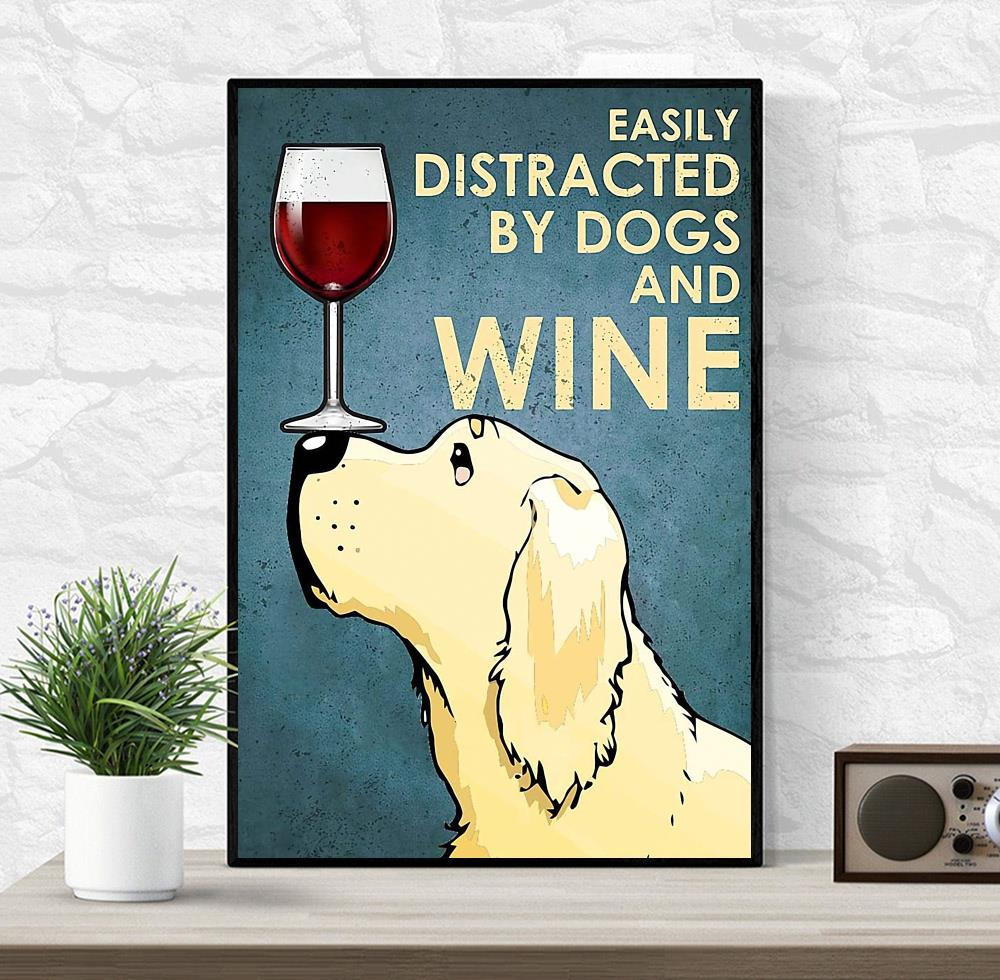 Yellow Labrador easily distracted by dogs wine canvas wrapped