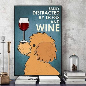 Yellow Poodle easily distracted by dogs and wine canvas art