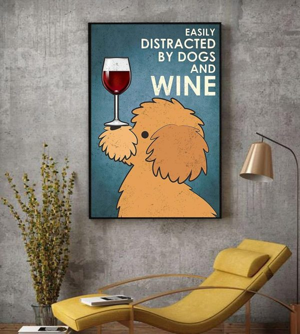 Yellow Poodle easily distracted by dogs and wine canvas decor