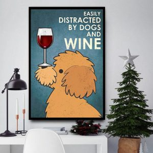 Yellow Poodle easily distracted by dogs and wine canvas