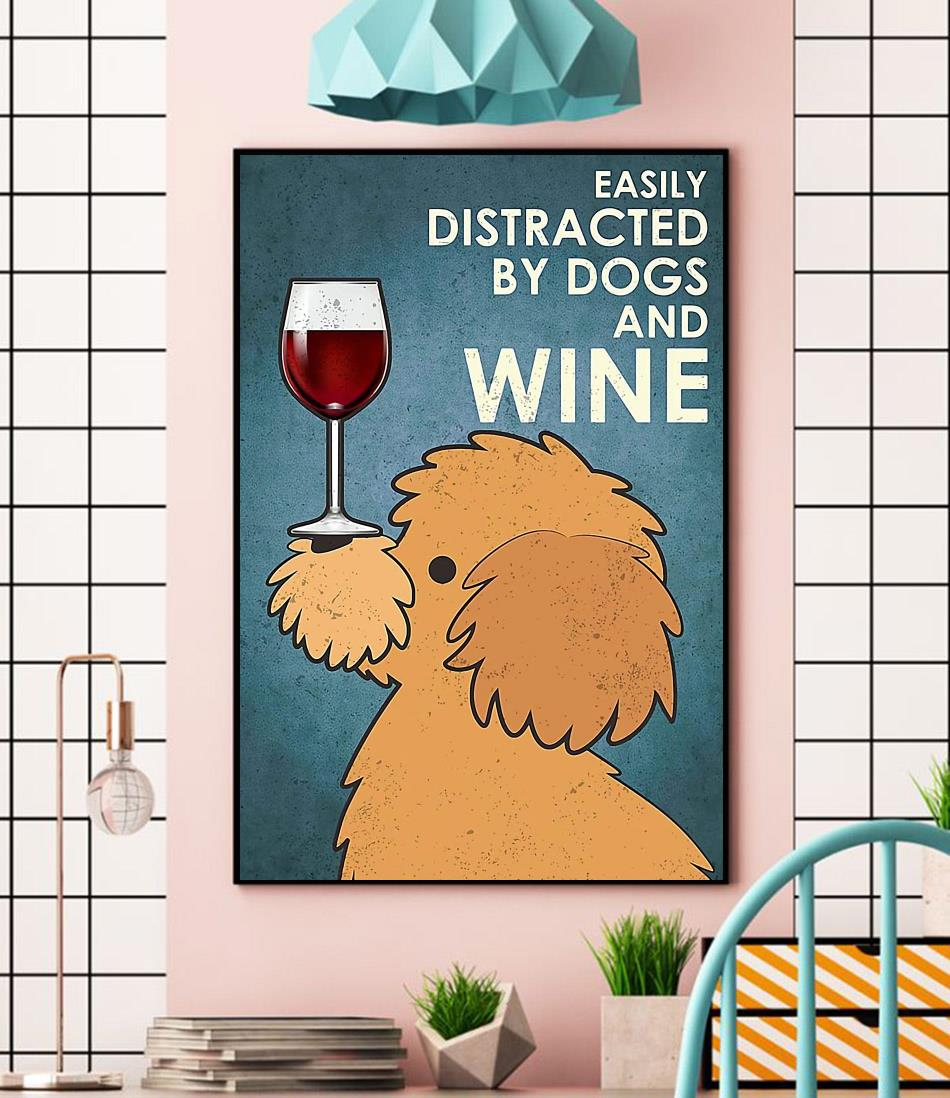 Yellow Poodle easily distracted by dogs and wine canvas wall