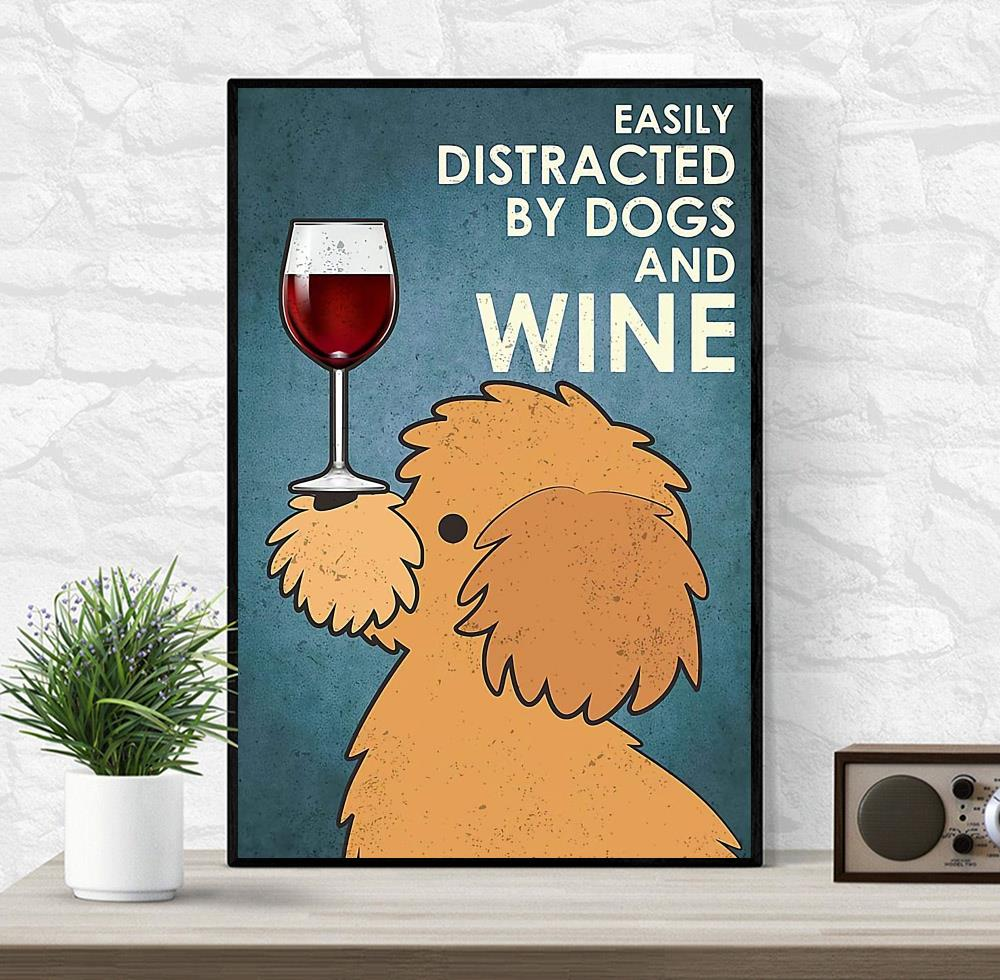 Yellow Poodle easily distracted by dogs and wine canvas wrapped