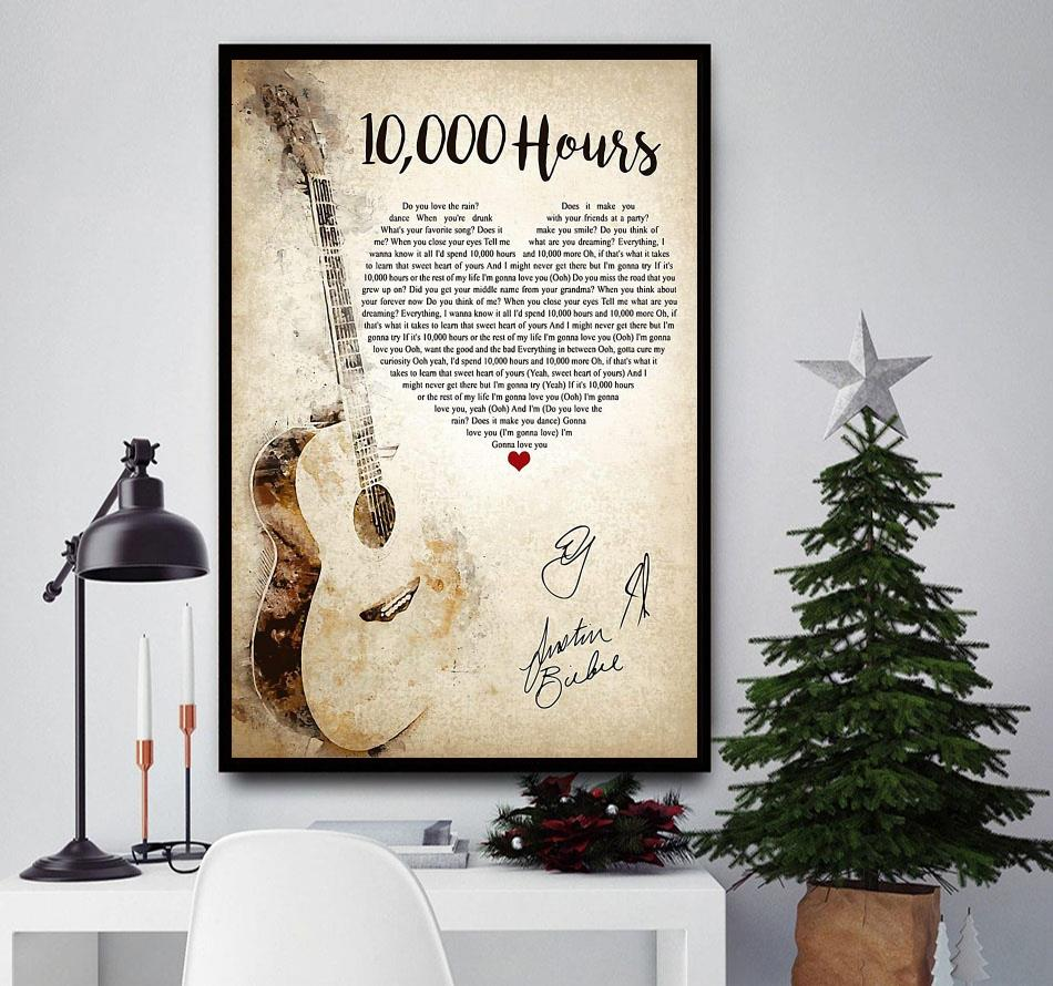 10000 hours shaped lyrics poster