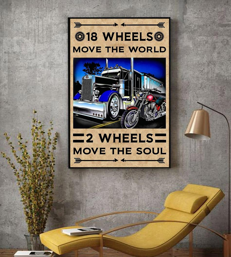 18 wheels move the world 2 wheels move the soul canvas decor