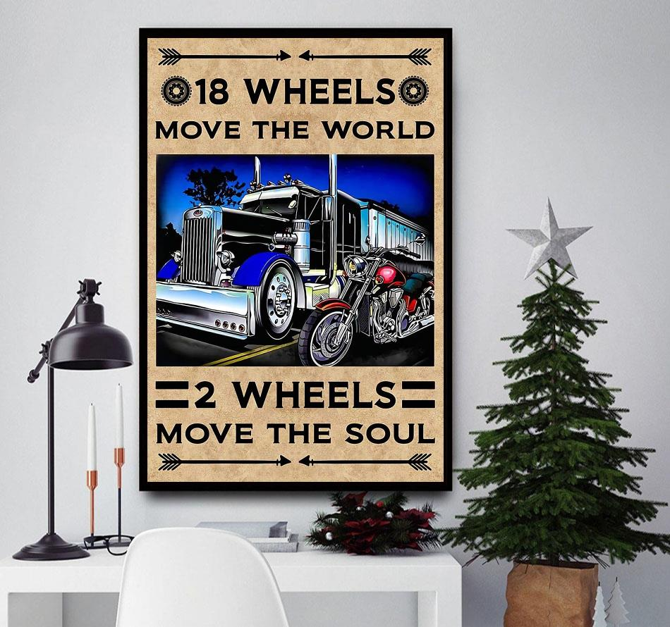 18 wheels move the world 2 wheels move the soul canvas wall decor