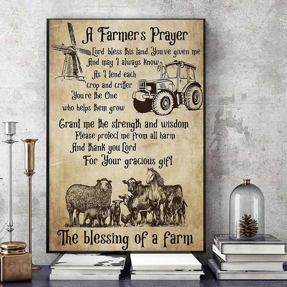 A farmer prayers the blessing of farm poster art