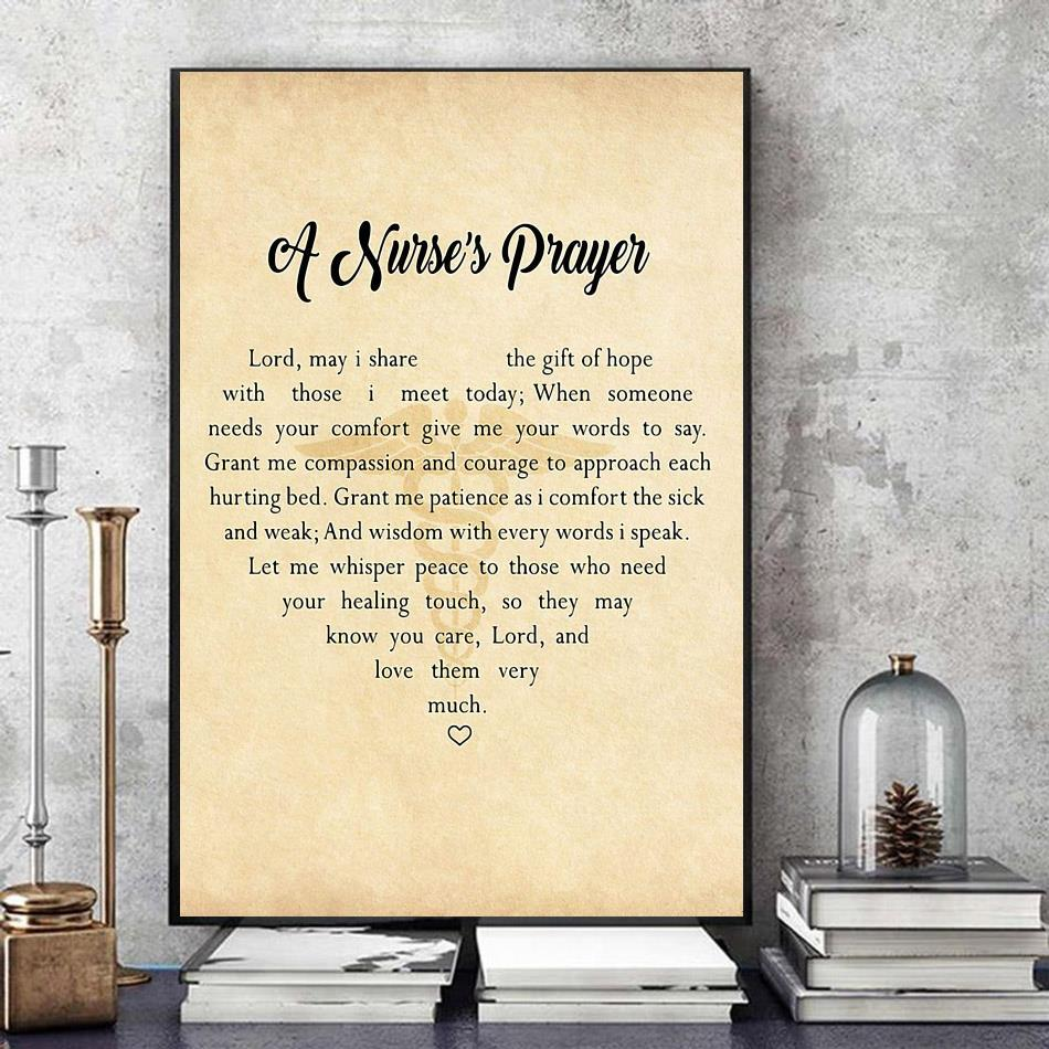 A Nurse's Prayer to Lord heart shape poster art