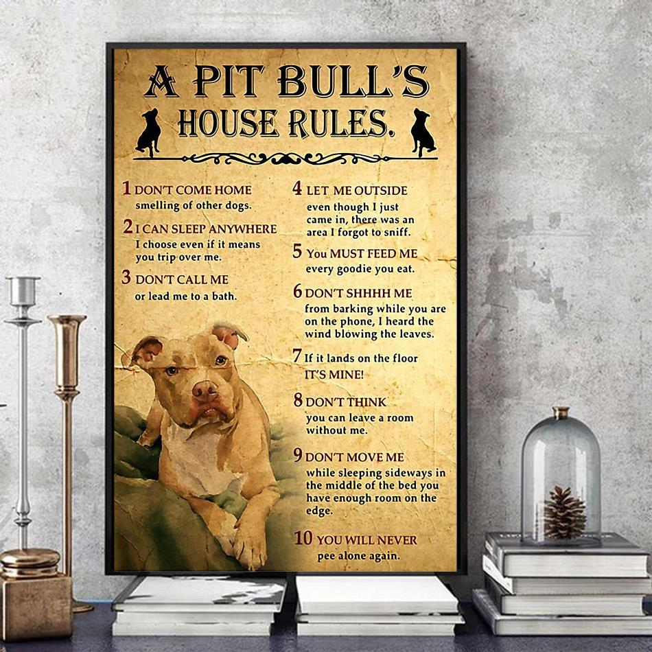 A Pitbull house rules poster canvas