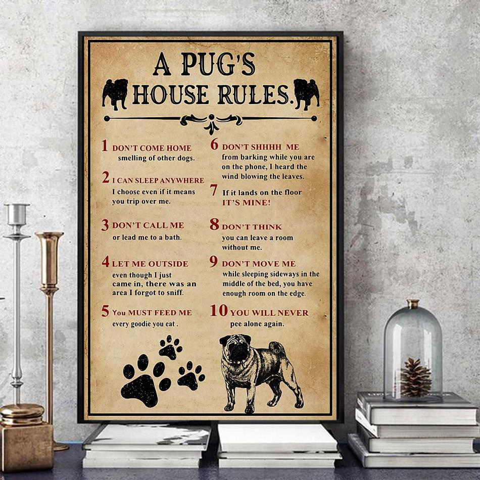 A Pug house rules poster canvas