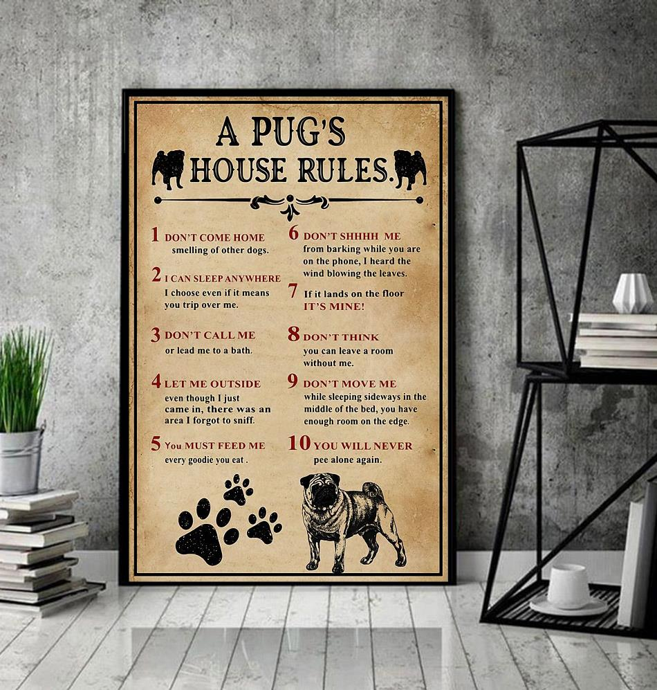 A Pug house rules poster canvas decor
