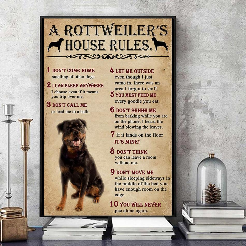 A Rottweiler house rules poster canvas