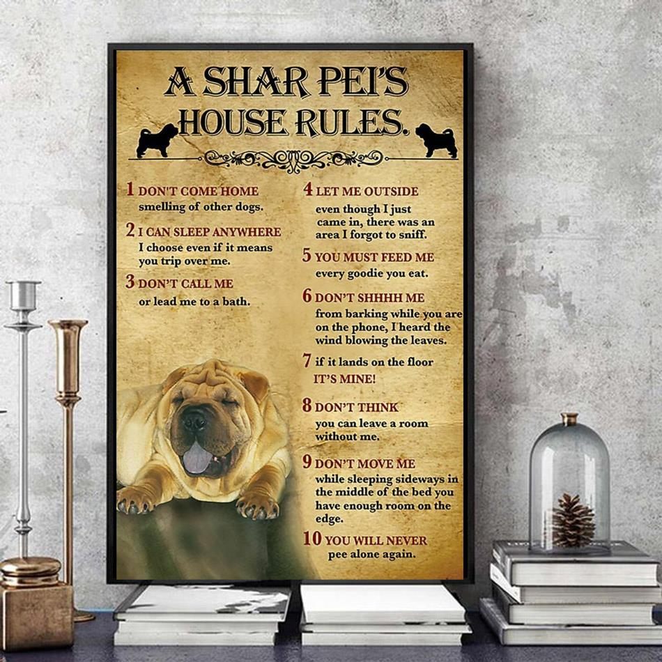 A Shar Pei house rules poster canvas