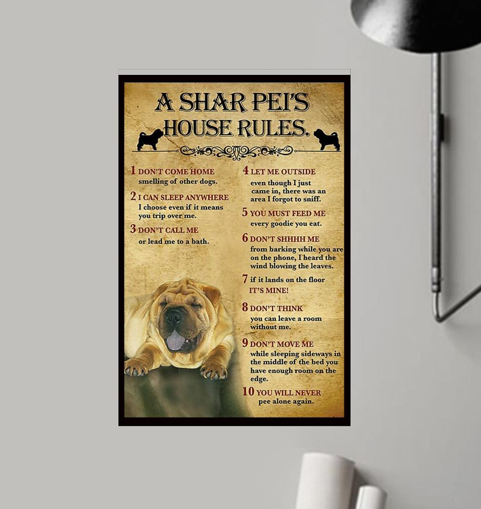 A Shar Pei house rules poster canvas frame