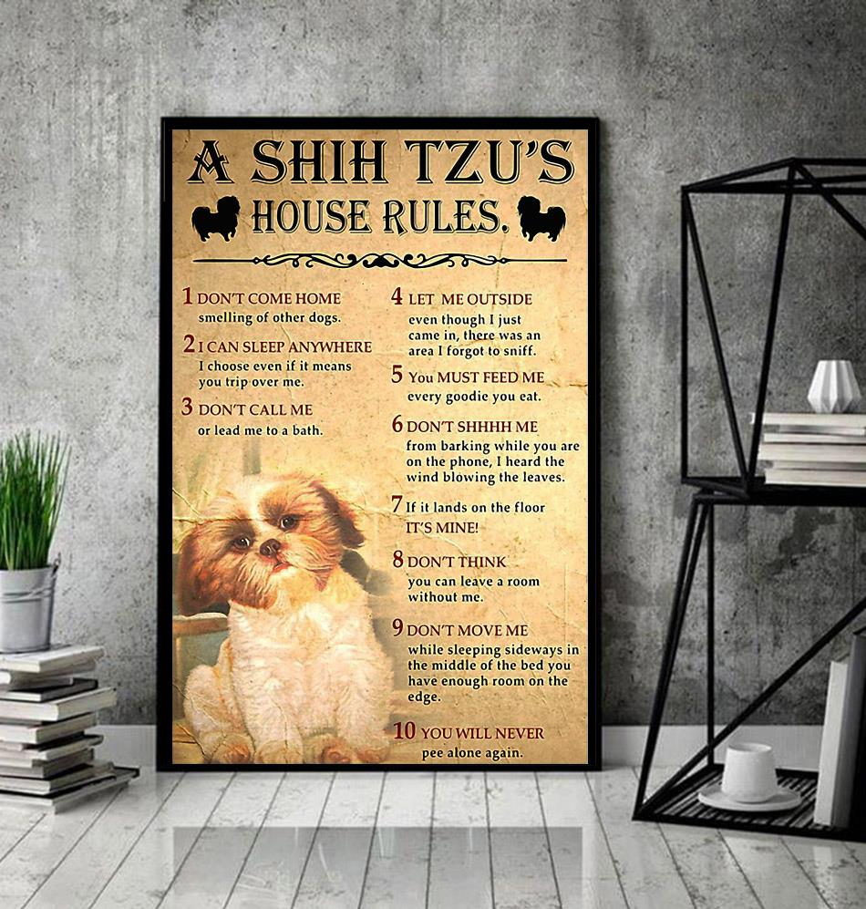 A Shih Tzu house rules poster canvas decor