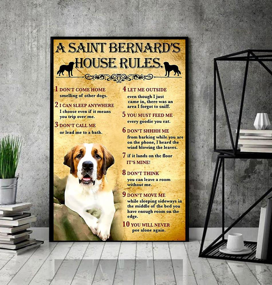 A St Bernard house rules poster canvas decor