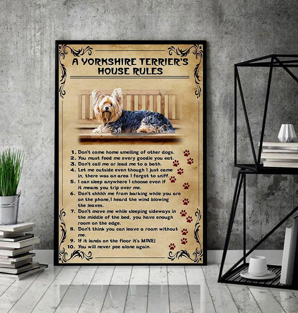 A Yorkshire Terrier house rules poster canvas decor