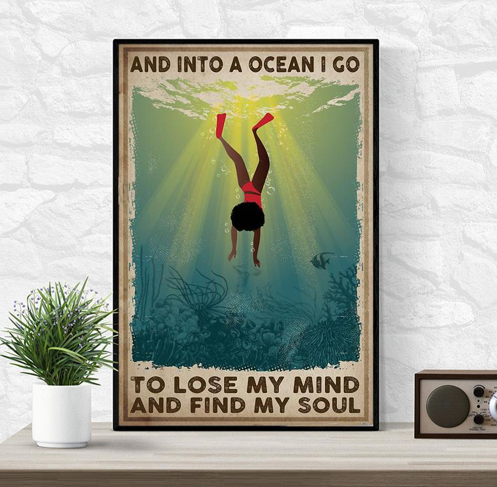 African American into the ocean i go to lose my mind and find my soul poster