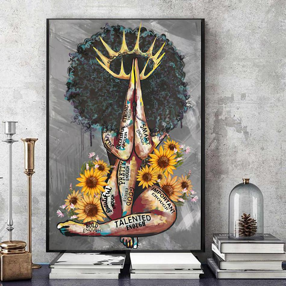 African American sunflower poster canvas art