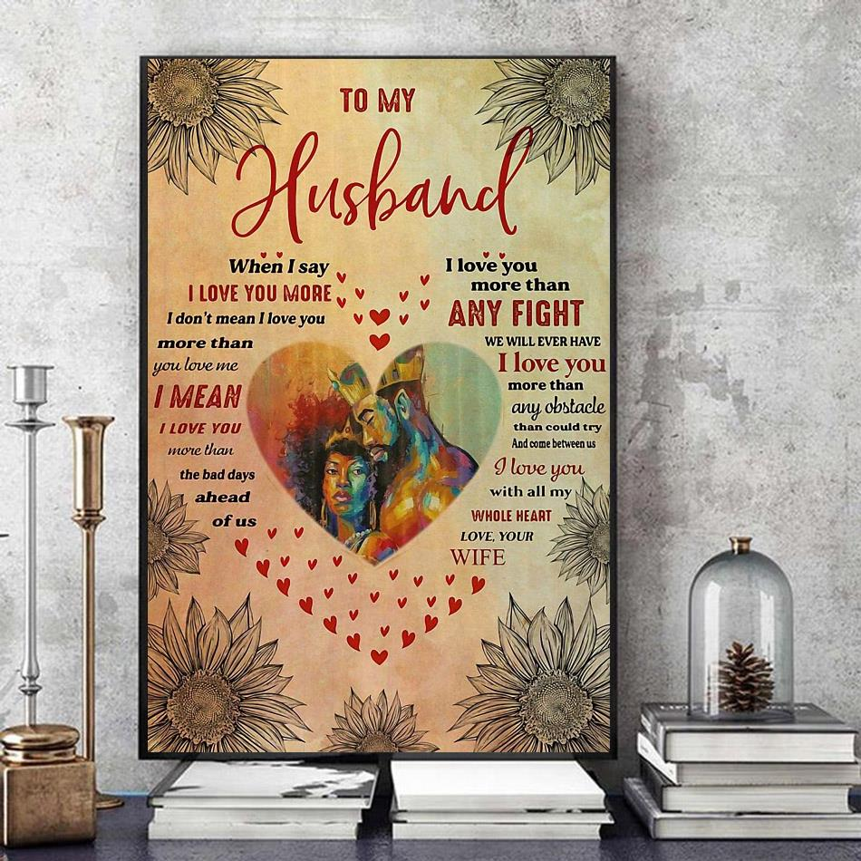 African couple to my husband love you with all my whole heart poster art