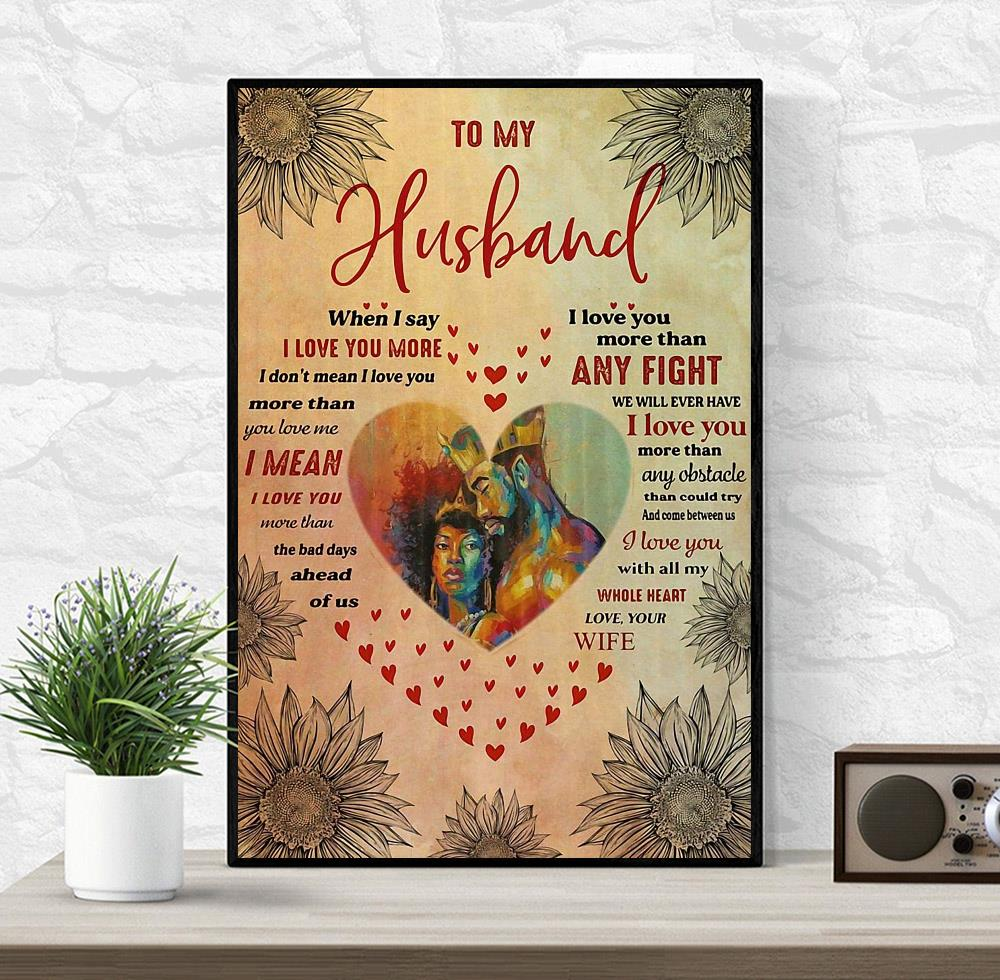 African couple to my husband love you with all my whole heart poster