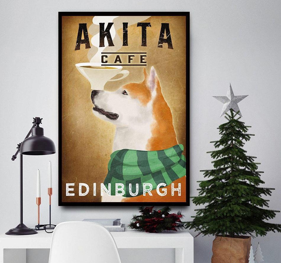 Akita Cafe Edinburgh vertical poster canvas
