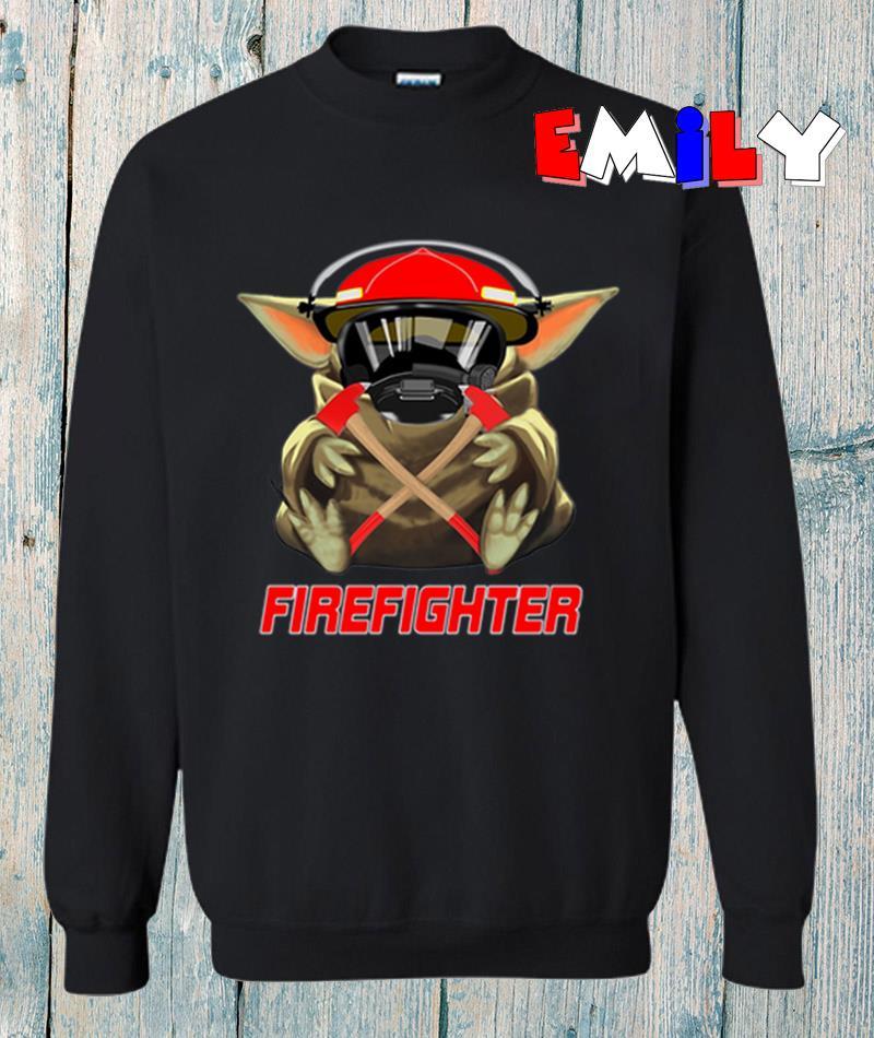 Baby Yoda mashup firefighter sweatshirt