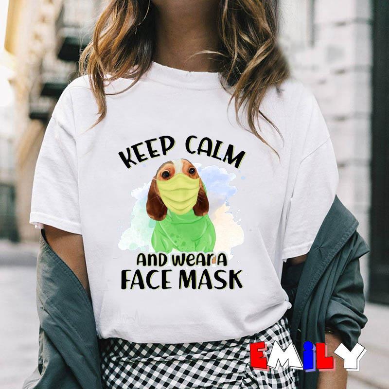 Beagle dog keep calm and wear a face mask