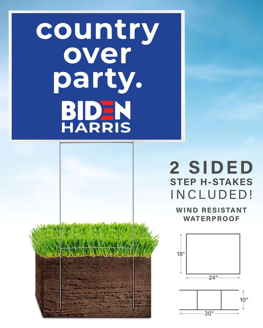 Biden Harris country over party yard sign