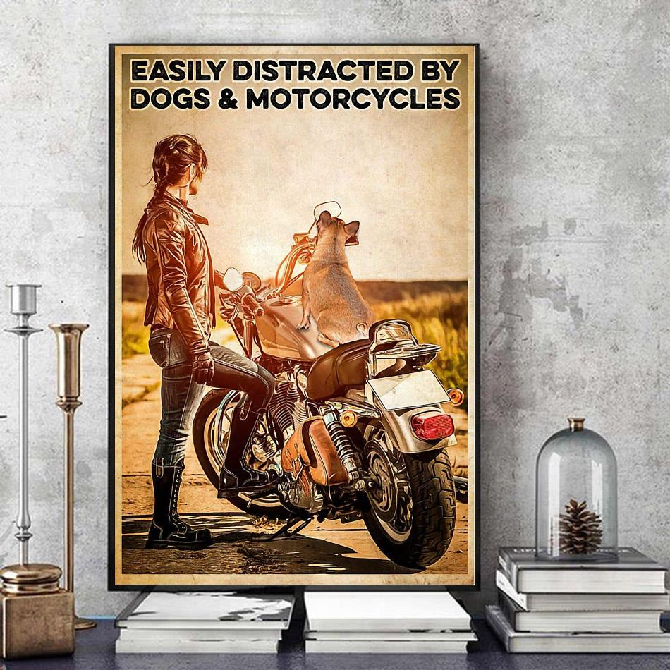 Biker easily distracted by dogs and motorcycles poster canvas art
